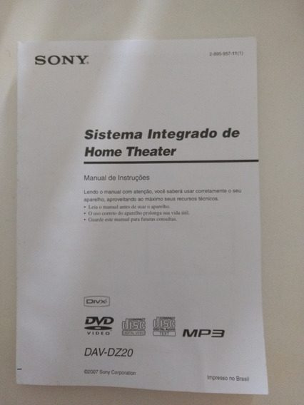 Manual Home Theater Sony Dav-dz20