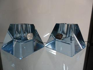 Par De Castiçais Porta Velas Cristal Bohemia Czechoslovakia
