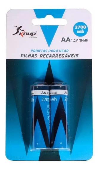 Pilha Recarregável Aa 1.2v Cartela Com 2 Original 2700mah