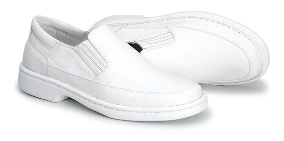 Sapato Masculino Conforto Anti Stress C/ Palmilha Gel Anti Impactos Branco Couro Enfermeiro Médico Dentista 1709