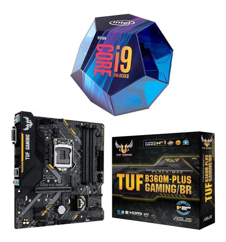 Kit Intel Core I9 9900k + Tuf B360m-plus Gaming/br