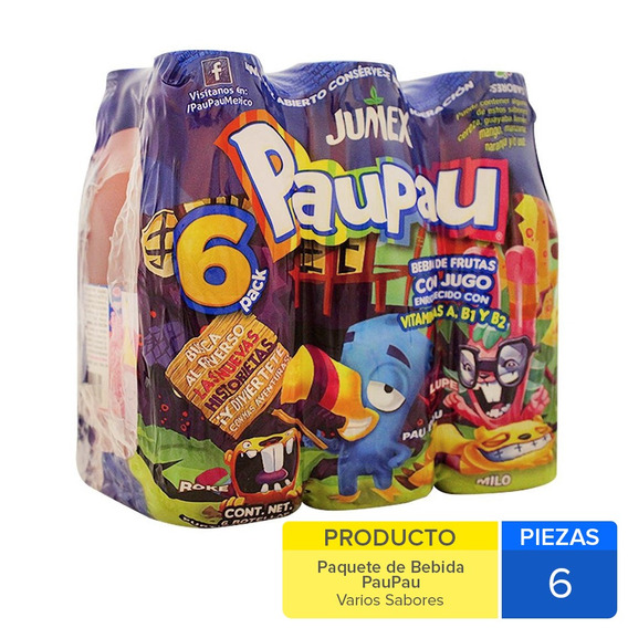 Bebida Pau Pau Varios Sabores 6 Und. De 250 Mls.