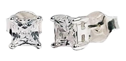 Aros Plata 925 Con Cristal Cubic Cuadrado Blanco