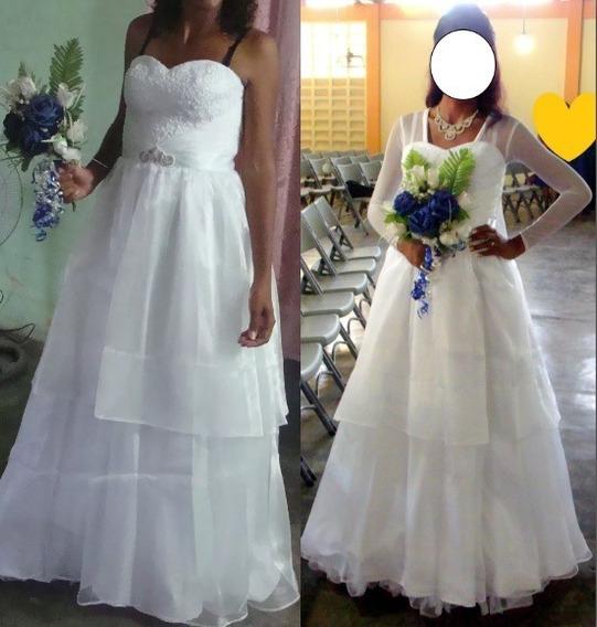Vestido De Novia Blanco, Con Velo Y Armador Incluido