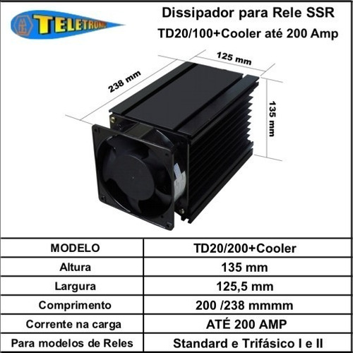 Dissipador Td20/200+cooler Para Rele Estado Sólido Até 200a