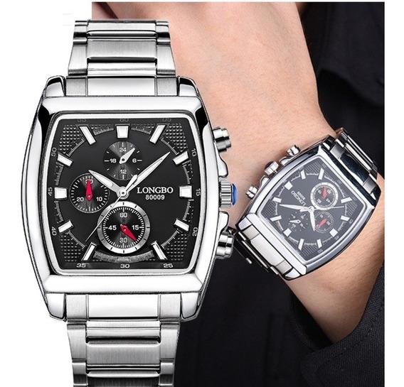 Relógio Masculino Longbo Preto Branco Quadrado Modelo 80008