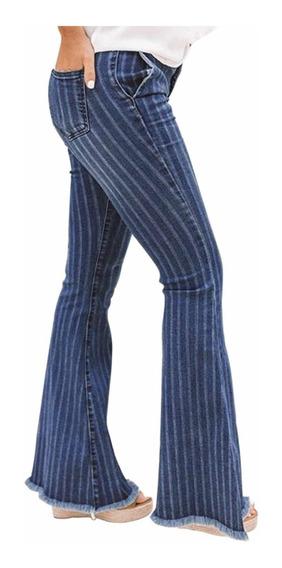 Pantalones De Jeans Damas Corte Alto Bota Ancha Outfit