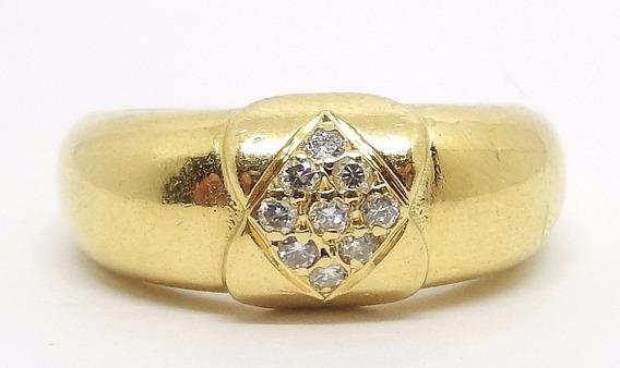 Pesado Anel Aparador De Ouro 18k Com Diamantes Naturais