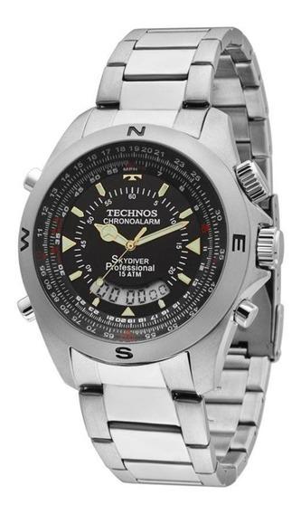 Relogio Masculino Prata Technos Skydiver T20565/1p Original