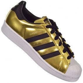 Tenis adidas By9180 Superstar Dourado/preto Promoção Origina