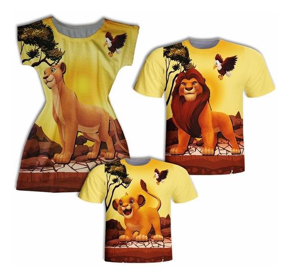 Camisas Pai E Filho + Vestido Mãe - Leão