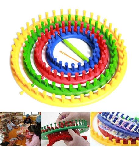 Kit Telar Circular Plástico Largo X4 Tamaños + Agujas