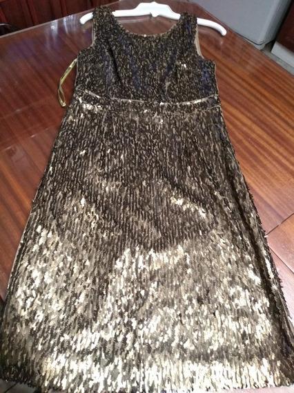 Vestido Importado Maxzaria En Paliets Dorado Bronce T M