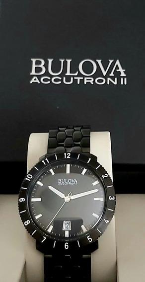 Relógio Bulova Accutron 2 Todo Preto Aço Sem Uso