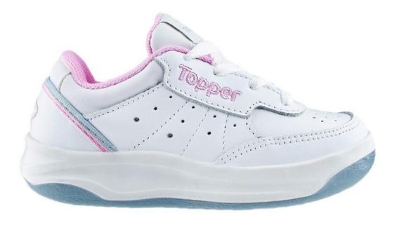 Zapatillas Topper De Cuero Blancas Rosas Niña X Forcer 21885