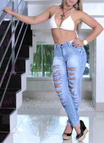 Calça Jeans Roupas Feminina Cintura Alta Destroyed Dins
