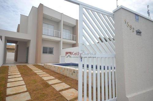 Imagem 1 de 13 de Belíssima Casa Frente Ao Mar Com 3 Dormitórios À Venda, 115 M² Por R$ 480.000 - Ca0029