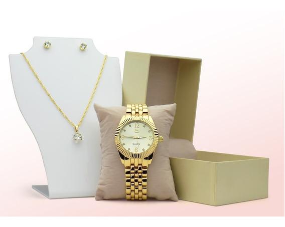 Relógio Feminino Orizom Dourado Original Kit Colar Brincos