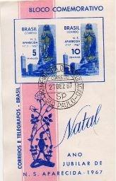 1967 B-25 Bloco Natal 67 Carimbo 1º Dia Mint