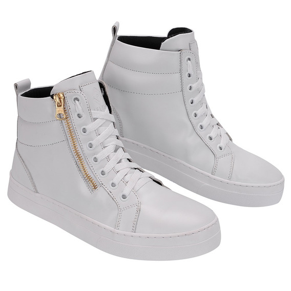 Bota Botinha Sneakers Academia Treino Couro Cano Alto B2