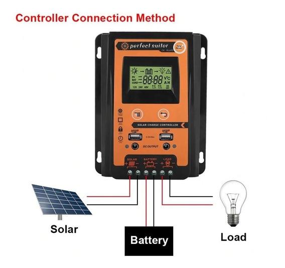 Controlador Carga Solar 70a Pwm 12/24v C/ 3 Estagio Carga