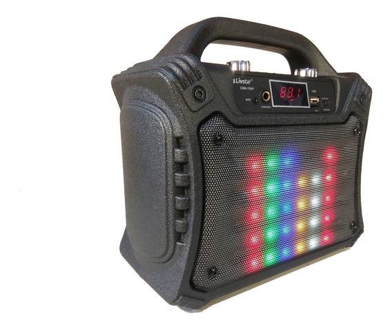 Caixa De Som Portátil Super Leds Karaokê Bluetooth 40w Rms
