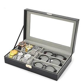 Caixa Porta 6 Relogios E 3 Oculos Couro Com Chave Visor Luxo