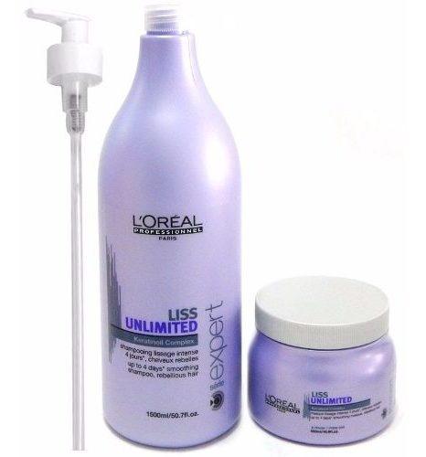 Kit Loreal Liss Unlimited Combo Shampoo X1500 + Máscara X500