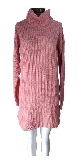 Sweater Poleron Vestido Largo Mujer Polera