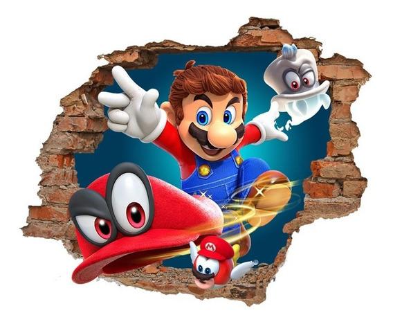 Vinilo Pared Rota 3d Super Mario Odyssey 1,20x0,96
