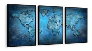 Quadro Mapa Mundi 120x60 Mosaico Moldura Lisa Escritório 1