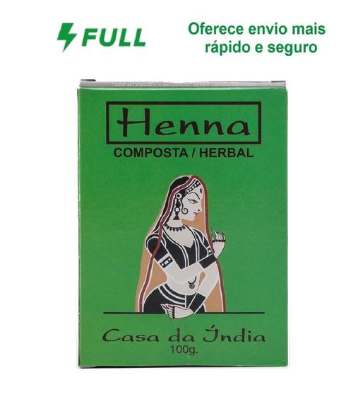 Henna Indiana 100% Composta Herbal Casa Da Índia 100g