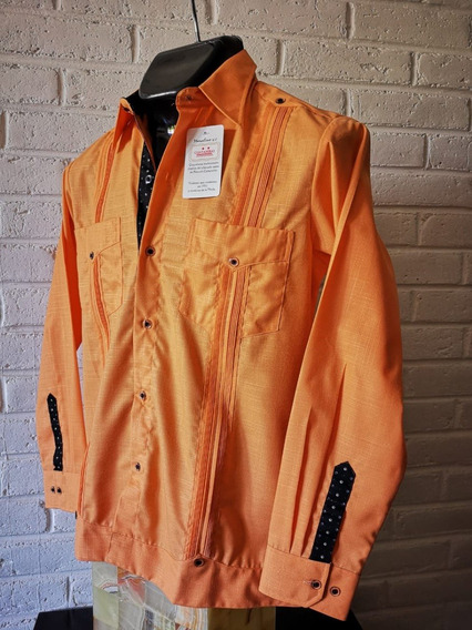 Guayabera Camisa Artesanal Combinada Naranja/azul