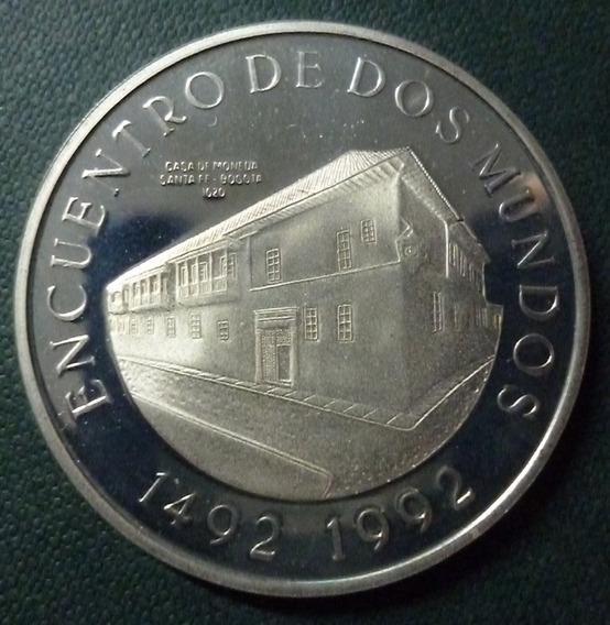 Colombia Moneda Plata 10000 Pesos Prf 1991 Serie Ibero I