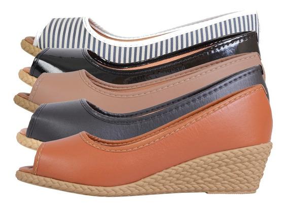 Sandalias Femininas Sapato Salto Anabela Sapatteria 040703