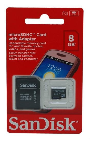 Cartão De Memória 8gb Micro Sd Com Adaptador Sd - Sandisk