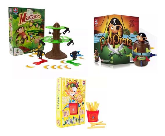Brinquedos Jogos Pula Pirata + Pula Macaco + Puxa Batatinha