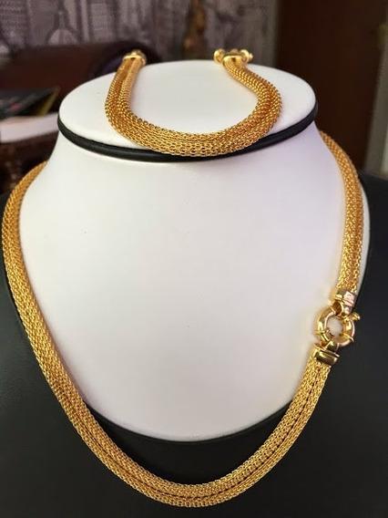 Colar E Pulseira:conjunto Ouro 18k-750, 43,6gr. Belíssimo.