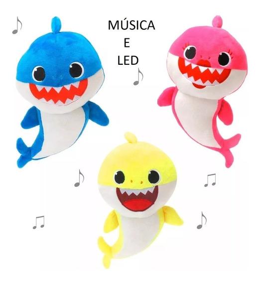 Envio Com Baterias Acende 4 Partes Musical Baby Shark Peluci