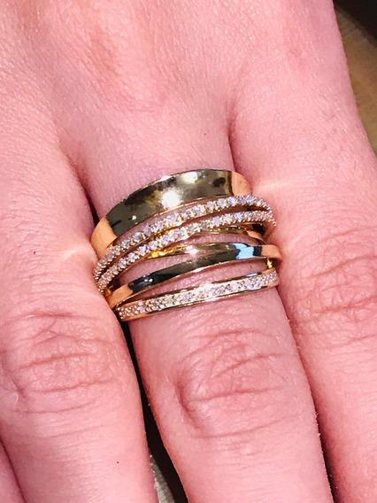 Anel Ouro 18k-7.2gr. Aro 17 -c/diamantes 37, Falta 2 Pedras.