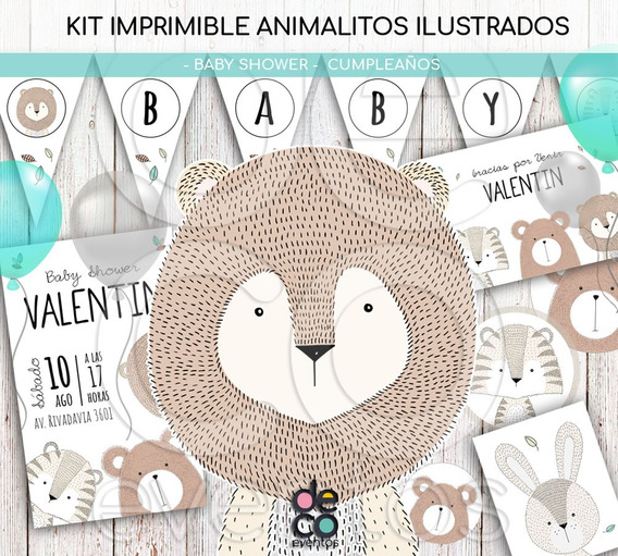 Tarjeta Y Kit Baby Shower/cumpleaños - Animalitos P/imprimir