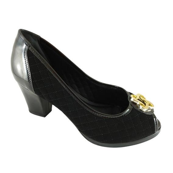 Peep Toe Confort Sapatoweb Matelassê Preto - 1663540pto