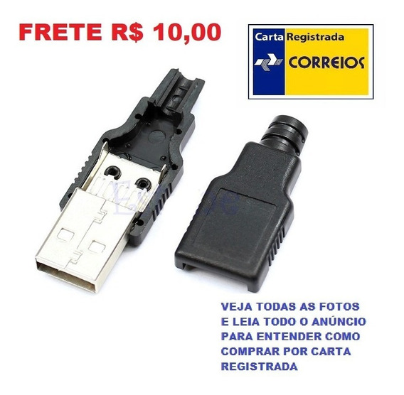 Kit 5 Jack Conector Plug Usb Macho Para Montar Frete R$ 10