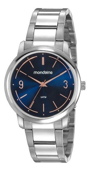 Relógio Mondaine Feminino Minimalista Analógico Prata Azul