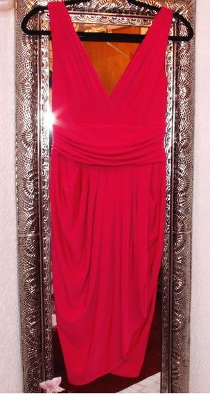 Vestido Rosa Fusia Sin Mangas, Escote V