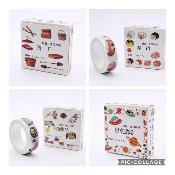 Washi Tape Fita Decorativa Sushi Jardinagem Estilo