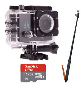 Camera Sports Cam Full Hd 4k Com Bastão Selfie E Cartão 32gb