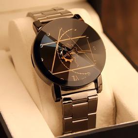 Relógio Masculino Preto Pulseira Em Metal Design Inovador!