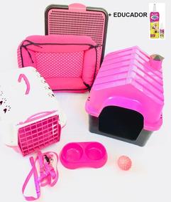 Kit Luxo Cama Casinha Plastica Sanit Transp Xixi S/n Cães P