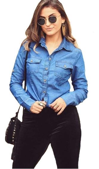 Camisa Basica Jeans Feminina Blusa Primavera Lançamento Moda